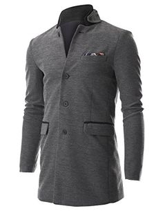 FLATSEVEN Men's Stand Up Point Collar 4 Button Casual Long Blazer Jacket with Handkerchief (BJ504) Grey, Boys L #FLATSEVEN #Jacket #outfit #coats #long #men #slim