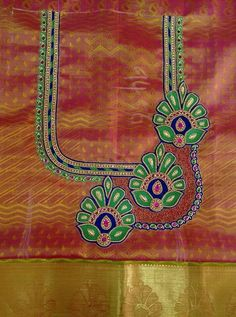 Best Blouse Designs, Simple Blouse Designs, Blouse Neck Designs, Peacock Embroidery Designs, Embroidery Patterns, Machine Embroidery, Maggam Work Designs, Designer Blouse Patterns, Designer Dresses