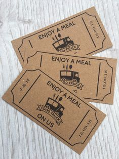 Excited to share this item from my shop: 50 Personalised Wedding Food Truck Tickets - Kraft Card - Coupons Wedding Meal Tokens Party Cards Custom Chic Sweet Sixteen Food Voucher Bar Unique Wedding Cakes, Unique Wedding Favors, Wedding Desserts, Wedding Meals, Wedding Gifts, Food Truck Wedding, Wedding Catering, Food Truck Party, Wedding Food Bars