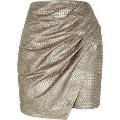 River Island Gold metallic wrapped drape mini skirt (€12) ❤ liked on Polyvore featuring skirts, mini skirts, faldas, bottoms, river island, saias, sale, draped skirts, short brown skirt and short wrap skirt