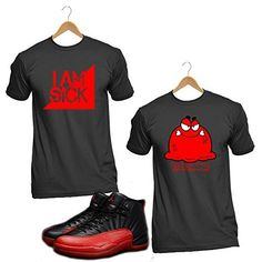 Flu Game 2016 Jordan 12 T4H Custom Sneaker Matching Red and Black Men Tshirt, http://www.amazon.com/dp/B01F2RQ2AW/ref=cm_sw_r_pi_s_awdm_xRaCxbD51HBGA