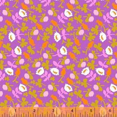 Cotton Fabric, Floral Print in Purple, Pink, Orange and Green, Briar Rose Flowers, Windham Fabrics