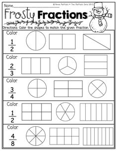to ] Great to own a Ray-Ban sunglasses as summer gift.Color the fractions in each row to match the given fraction! Great introduction to fractions! 2nd Grade Math Worksheets, Fractions Worksheets, Preschool Worksheets, Fraction Activities, Fraction Games, Math Games, Free Worksheets For Kids, Free Preschool, 3rd Grade Fractions