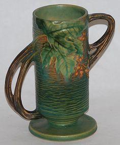 Roseville Pottery Bushberry Green Vase 32-7