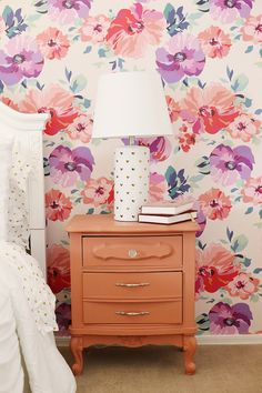 Purple and Pink Floral Big Girl Room with Floral Wallpaper and Gold Accents