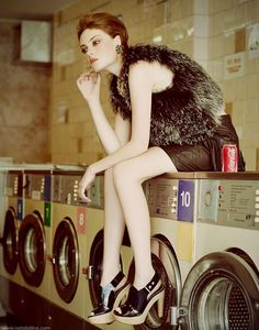 going to the laundromat .. washing machines were not common in every house hold.