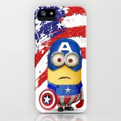 The Avengers Despicable me minion Captain America  iPhone & iPod Case by pointsalestore - $35.00