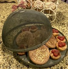 Primitive Shoofly Screen With Base Faux Ginger Bread Cookies And Cherry Tarts!