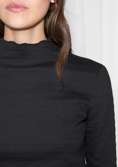 & Other Stories image 4 of Frilled Mock Neck Top in Black