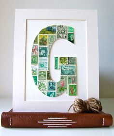 collage letter - there are so many options for collage letters! photos, patterned paper, sports, etc!