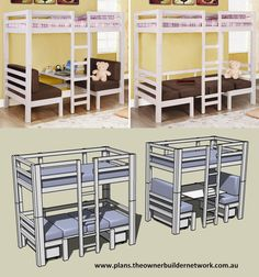 Looking for your next project? Try this or any of the other great DIY projects available from OBN. Plans for this bunk contain ten detailed pages of step by step instructions and cost as little as $2.25 for the full set.    You'll find full details of our Project of the Month Club at http://plans.theownerbuildernetwork.com.au/    Don't forget to share the love :)