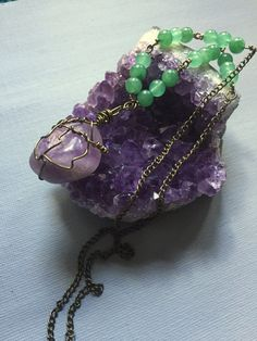Amethyst and aventurine wire wrap necklace by Moonlighthazejewelry