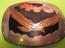 Hand Made & Engraved SOARING EAGLE & MOON Awesome Belt Buckle MAKE OFFER $90.00 or Best Offer Free shipping