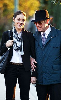 Megan Boone & James Spader on the set of The Blacklist
