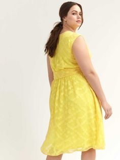 Shop online for Yellow Faux-Wrap Dress. Find Sale-Clearance, and more at AdditionElle Fit Flare Dress, Fit And Flare, Cap Sleeves, Dresses With Sleeves, Addition Elle, Cute Summer Dresses, Faux Wrap Dress, Dress Making, Beautiful Dresses