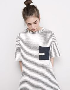 Pull&Bear - femme - t-shirts et tops - t-shirt poche manches courtes - blanc - 05239393-V2016