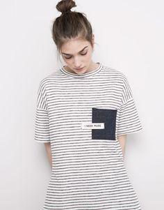 Pull&Bear - femme - t-shirts - t-shirt poche manches courtes - blanc - 05239393-V2016