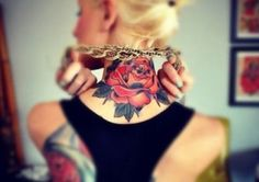 RED ROSE NECK TATTOO | #red #rose #women #neck #tattoo