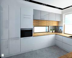 Dom 120 m2 Kraków ul. Lokietka - Średnia otwarta kuchnia w kształcie litery l w aneksie, styl nowoczesny - zdjęcie od katadesign