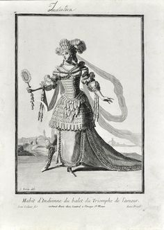 """Habit d'Indienne du Balet du Triomphe de l'Amour"", by J.Berin, 1695. Engraving of a.... VINTAGE fancy dress example. Indian fancy dress at the French court. Click to shop at Shapero Rare Books."