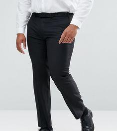 ASOS PLUS Slim Suit Pants In Black 100% Wool - Black