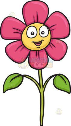 A cute and happy pink flower Cute Cartoon Drawings, Art Drawings For Kids, Easy Drawings, Rock Flowers, Felt Flowers, Summer Crafts For Kids, Art For Kids, Cartoon Flowers, Painted Rocks Craft