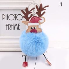 Christmas Elk Deer Fur Ball Plush Keychains Backpack Pendant Bag Accessories Animal Doll Plush Key Ring For Party Gifts Strong Packing Wood Planers