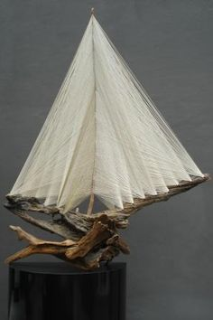 string art driftwood sail boat