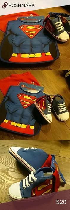 Superman 9-12 month set bib and shoes Nwt! Adorable Superman baby bib with detachable cape and matching slide on shoes in size 9-12 months abg baby Matching Sets