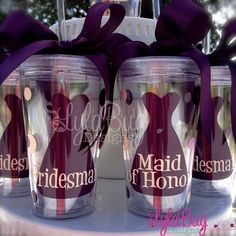 Bridal Party Gifts  Acrylic Tumblers are perfect for drinks while getting ready on your big day! No spills on your gorgeous gowns!