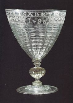No doubt thanks to their elaborate diamond-point engraved decoration, no less than 12 goblets attributed to Verzelini's workshop in London, c1577-90, have survived.