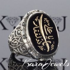 925 Sterling Silver Men's Ring with Zulfiqar engraving on Black Onyx handmade  #KaraJewels #Islamic
