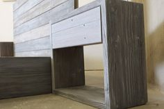 Handcrafted from a mix of woods all customized to give you a sturdy bed while not sacrificing a unique look. The headboard is Reclaimed wood that has a natural worn weathered patina making it a warm and unique piece. The Base is crafted from new(sometimes recycled, but cannot consistently
