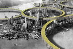 Speculative Manhattan: Ring Megastructures Engulf City's Iconic Skyscrapers