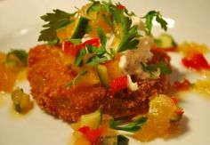 Fried Green Tomatoes with Crab Salad & Chow Chow Relish - Chef Darin Sehnert - Hands on Cooking Classes - Savannah GA Relish Recipes, Salad Recipes, Chow Chow Relish, Delicious Destinations, Fried Green Tomatoes, Louisiana Recipes, Crab Salad, Side Recipes, Yummy Appetizers
