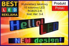 Wyświetlacz tekstowy 15 kolorowy LED DZIEŃ / NOC