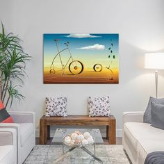 """East Urban Home The Bicycle Graphic Art on Wrapped Canvas Size: 12"""" H x 18"""" W x 0.75"""" D"""