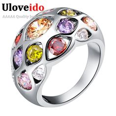 Silver Plated Rings for Women Multicolor Cubic Zirconia Jewelry Anillos de Compromise Wholesale Anelli Donna Uloveido J452