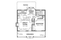 Cottage Style House Plan - 1 Beds 1.00 Baths 614 Sq/Ft Plan #18-1048 Floor Plan - Main Floor Plan - Houseplans.com
