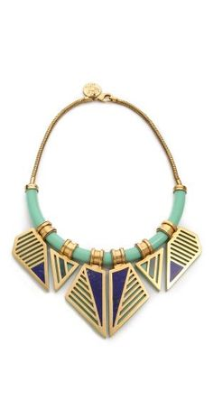 FREE SHIPPING at shopbop.com. A luxe, geometric bib necklace. A snake chain anchors the transparent U bar, and the angled pendants have malachite and lapis detailing. Lobster-claw clasp. Antiqued gold plate. Imported, India. MEASUREMENTS Length: 15in / 38cm Drop: 9.5in / 24cm - Mint Multi $748.00 by ShopBop