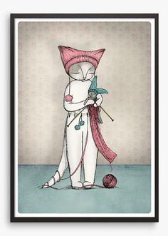 Cat Art Print  - kitten knits illustration - A4 Fine Art Print cute christmas art knitting knitted cat - bunny rabbit