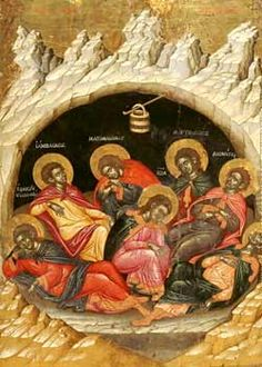 The Seven Sleepers of the Ephesos Painting by Emmanuel Tzanes Reproduction Religious Images, Religious Icons, Religious Art, Byzantine Icons, Byzantine Art, Christian Artwork, Most Famous Paintings, Best Icons, Orthodox Icons