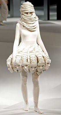 Ugly mummified alien face dress.