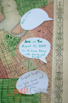 Instead of a guest book this couple had a map of Brooklyn Photo l www.gasparphotography.com Etsy wedding, Brooklyn Weddings, ICI Brooklyn, DIY Wedding, wedding crafts, brooklyn wedding venues, ici wedding