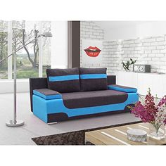 JUSThome Area Einzelsofa Sofa Schlafsofa Mikrofaser (HxBxT): 95x200x73 cm Schwarz Blau