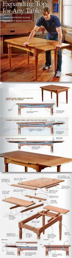 Expanding Table Plans - Furniture Plans and Projects | http://WoodArchivist.com