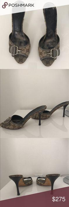 Auth. Gucci Monogram Horsebit Slide Heel Gucci Beige Monogram Mule Heel with Horsebit with stiletto heel. Comes with dustbag. Gucci Shoes