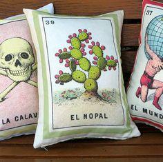 El Nopal Loteria Cactus Pillow Cover circa 1920 by PillowandPocket
