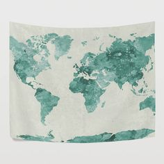 Green Watercolor World Map Tapestry Wall Hanging Vintage Global Map Wall Decor Art for Bedroom Living Room and Dorm by EvaOneStudio