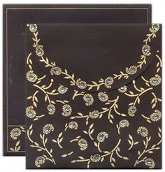 D-2185, Black Color, Designer Multifaith Invitations, Card with Rhinestones, Jewish Invitations